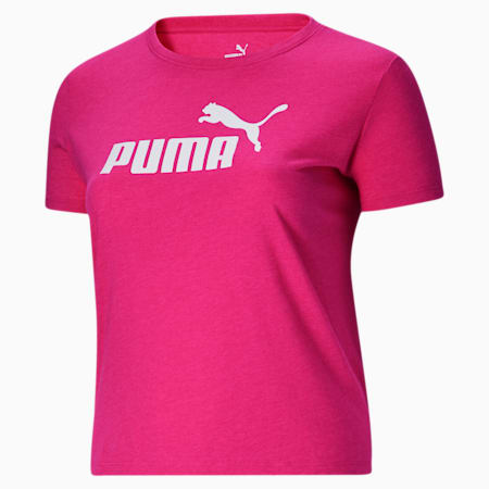 Essentials+ Women's Logo Heather Tee PL, Glowing Pink Heather, small