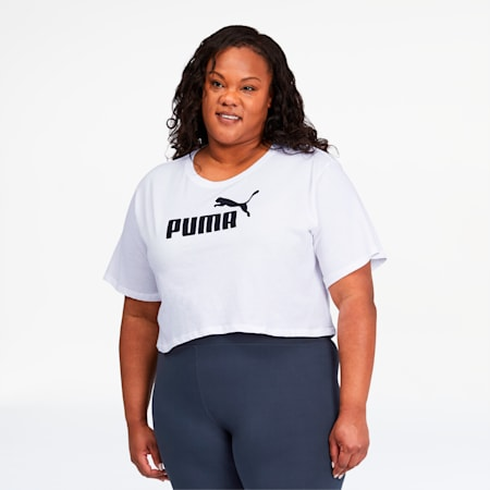 Essentials+ Women's Cropped Logo Tee, Puma White, small