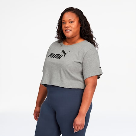 Essentials+ Women's Cropped Logo Tee, Light Gray Heather, small