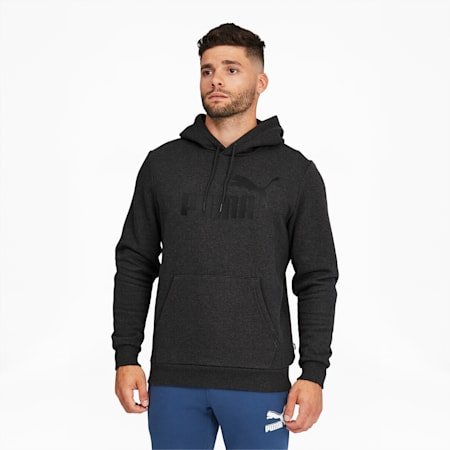 Essentials Big Logo Men's Hoodie, Dark Gray Heather, small