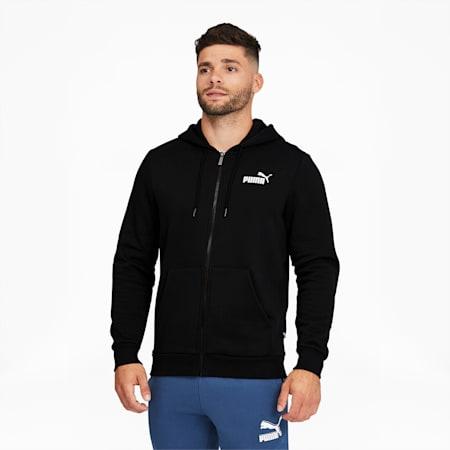 Essentials Men's Full Zip Hoodie, Cotton Black, small