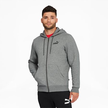 Essentials Men's Full Zip Hoodie, Medium Gray Heather, small