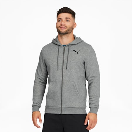 Essentials Men's Full Zip Hoodie, Medium Gray Heather-Cat, small