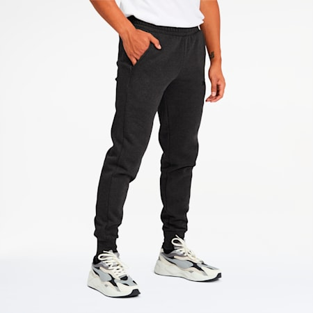 Essentials Men's Logo Sweatpants, Dark Gray Heather-Puma Black, small