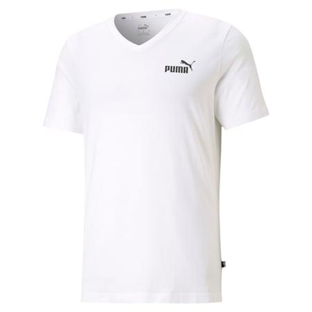Camiseta con cuello en V Essentials+ para hombre, Puma White, pequeño