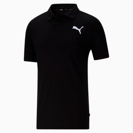 Camiseta tipo polo Essentialsde piqué para hombre, Cotton Black-Cat, pequeño