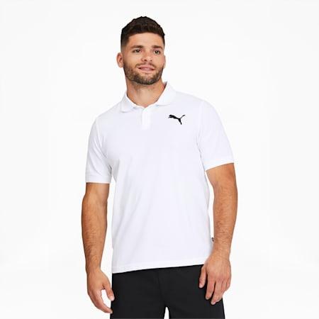 Camiseta tipo polo Essentialsde piqué para hombre, Puma White-Cat, pequeño