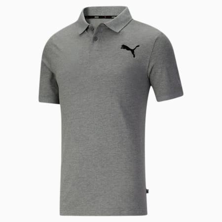 Camiseta tipo polo Essentialsde piqué para hombre, Medium Gray Heather-Cat, pequeño