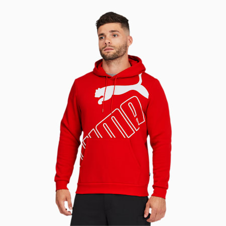 Big Logo Men's Hoodie, High Risk Red, small