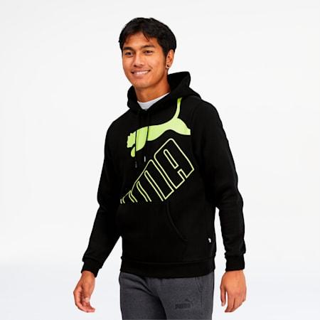 Big Logo Men's Hoodie, Puma Black-Sharp Green, small