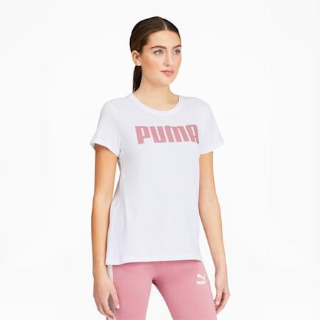 Active Women's Logo Tee, Puma White-Foxglove, small