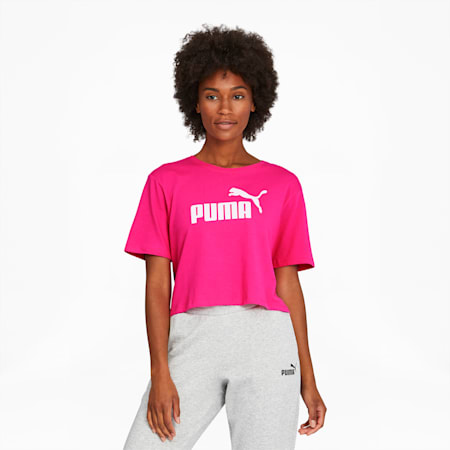 Essentials+ Women's Cropped Logo Tee, Glowing Pink, small