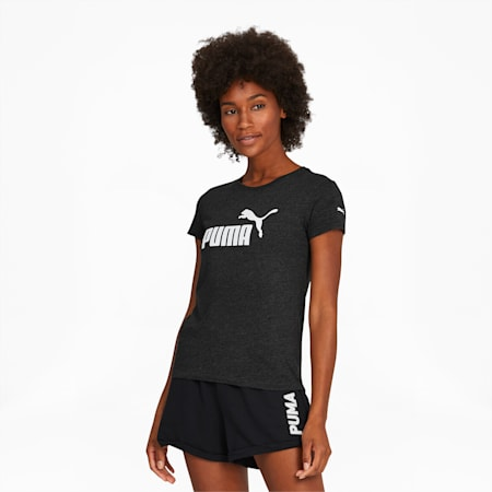 Essentials Women's Logo Tee, Dark Gray Heather-Puma White, small
