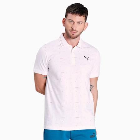 Printed Stripe Men's Polo, Puma White, small-IND