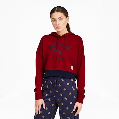 NYC Women's Contrast Hoodie, Red Dahlia, small