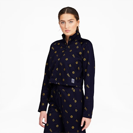 NYC Women's Cropped Track Jacket, Peacoat-AOP, small