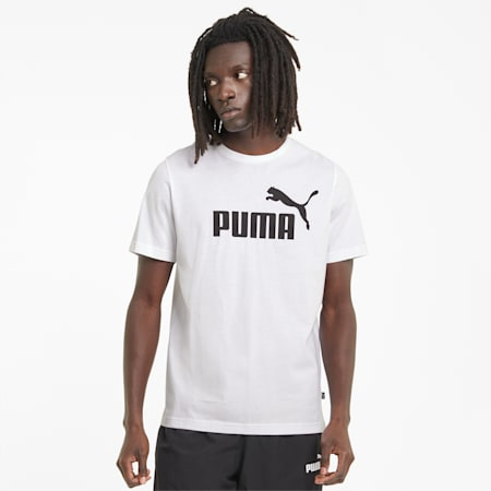 Essentials Men's Logo Tee, Puma White, small