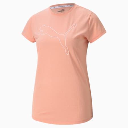 RTG Heather Logo Regular Fit Women's T-shirt, Apricot Blush Heather, small-IND
