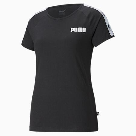 Damski T-shirt z ozdobną taśmą, Cotton Black, small