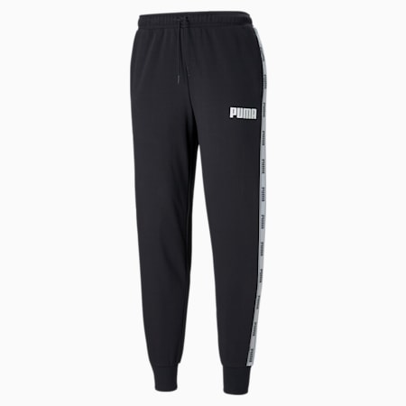 Męskie spodnie z bawełny pętelkowej ozdobione taśmą, Cotton Black, small