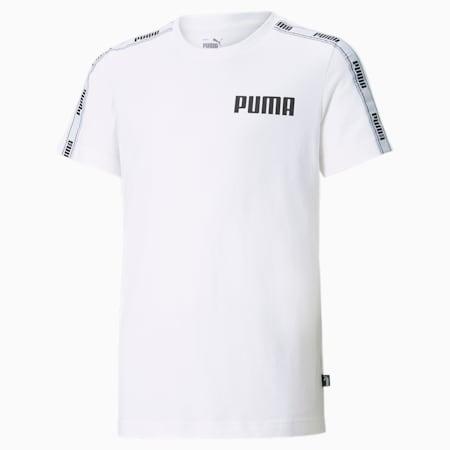 Młodzieżowy T-shirt z ozdobną taśmą, Puma White, small