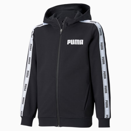 Tape badstof hoodie met volledige ritssluiting jongeren, Cotton Black, small