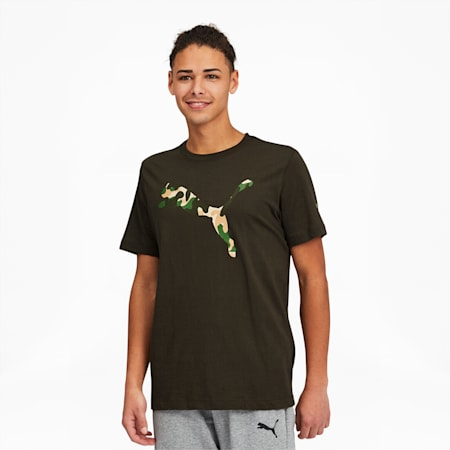 Camo Cat Men's Logo Tee, Forest Night, small