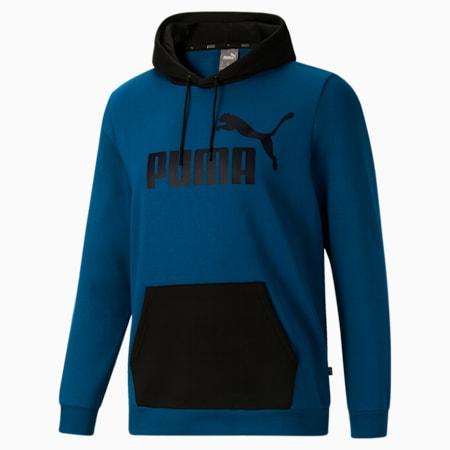 Sudadera con capuchaEssentials+ Big Logo BT para hombre, Digi-blue-Cotton Black, pequeño