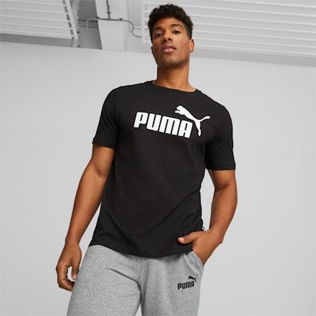 T-shirt con logo Essentials uomo, Puma Black, small