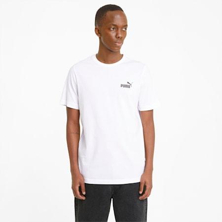 Essentials T-shirt heren met klein logo, Puma White, small