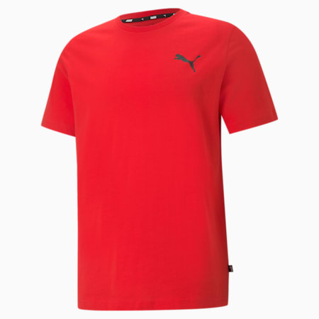 Essentials Herren T-Shirt mit dezentem Logoprint, High Risk Red-High Risk Red-Cat, small