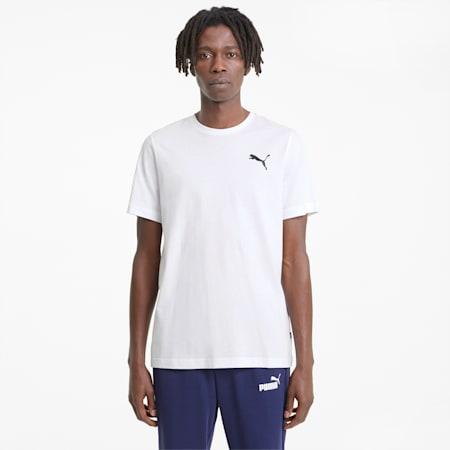 Essentials Herren T-Shirt mit dezentem Logoprint, Puma White-Puma White-Cat, small