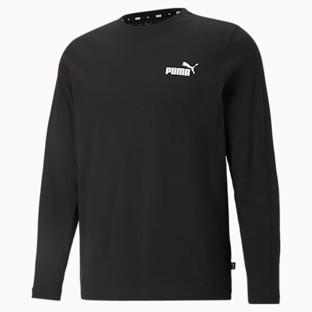 Essentials Long Sleeve Men's Tee, Puma Black, small-SEA