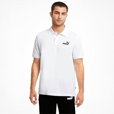 Essentials Pique Men's Polo Shirt, Puma White, small-SEA