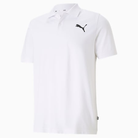 Essentials Pique Men's Polo Shirt, Puma White-cat, small