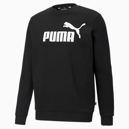 Essentials Big Logo Crew Neck Men's Sweater, Puma Black, small-GBR