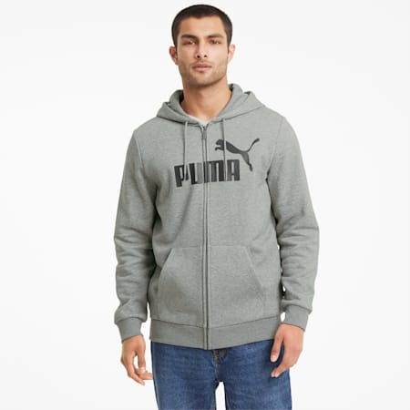 Felpa con zip integrale e logo grande Essentials uomo, Medium Gray Heather, small