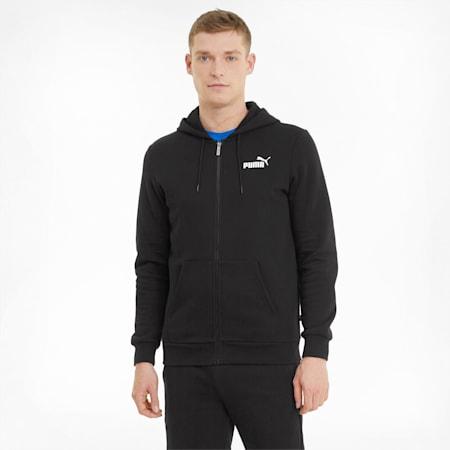 Essentials Full-Zip Logo Men's Hoodie, Puma Black, small-GBR