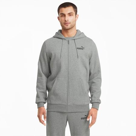 Essentials hoodie met logo en volledige ritssluiting heren, Medium Gray Heather, small