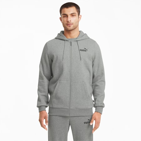 Męska bluza Essentials z kapturem, logo i zapięciem na zamek, Medium Gray Heather, small