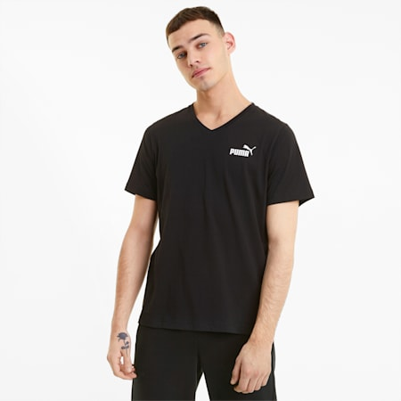 Męski T-shirt Essentials z dekoltem w serek, Puma Black, small