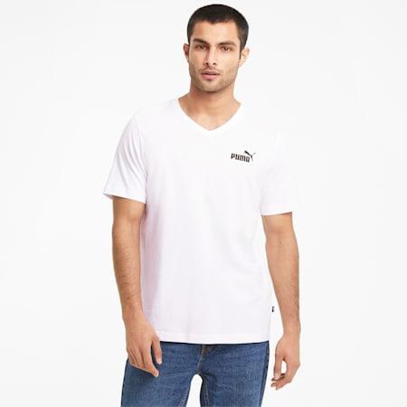 Essentials Herren T-Shirt mit V-Ausschnitt, Puma White, small