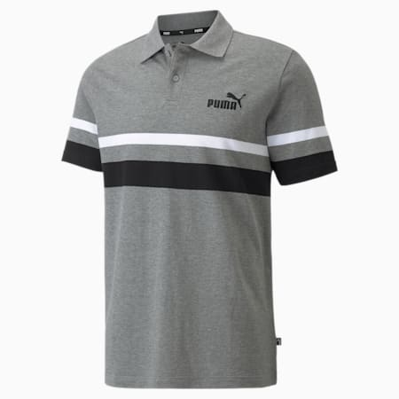 Polo Essentiels à rayures pour homme, Medium Gray Heather, small