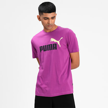 Essentials+ 2 Colour Logo Men's  T-shirt, Byzantium, small-IND