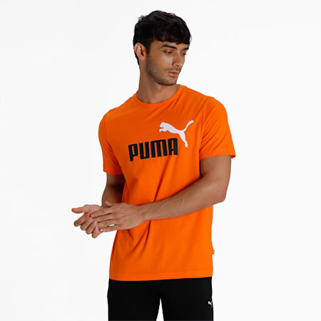 Essentials+ 2 Colour Logo Men's  T-shirt, Vibrant Orange, small-IND