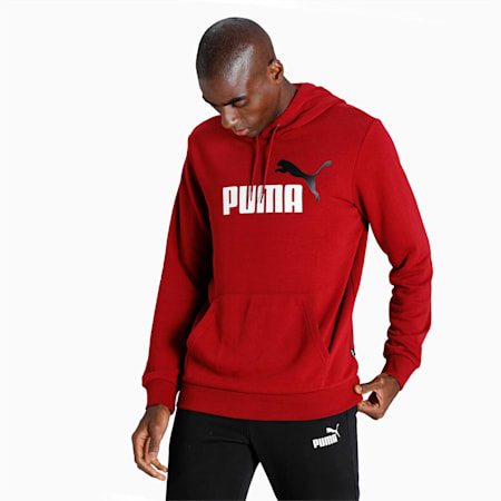 Essentials+ Two-Tone Big Logo Men's Hoodie, Intense Red, small-IND