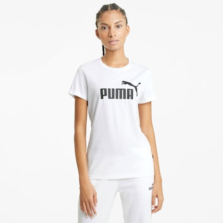 Essentials Logo Women's Tee, Puma White, small-SEA