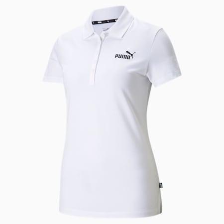 Essentials Regular Fit Women's Polo Shirt, Puma White, small-IND