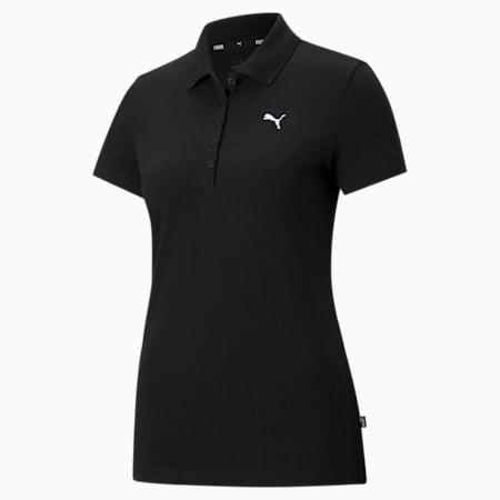 Essentials Women's Polo Shirt, Puma Black-CAT, small