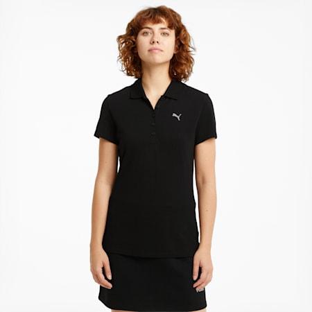 Essentials Women's Polo Shirt, Puma Black-CAT, small-SEA